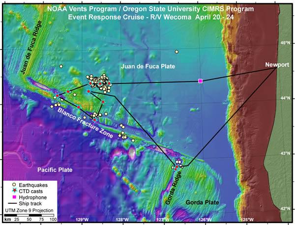 Oregon Offshore Quakes Cruise Map