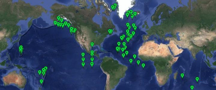 PMEL deep-ocean hydrophone mooring deployments map
