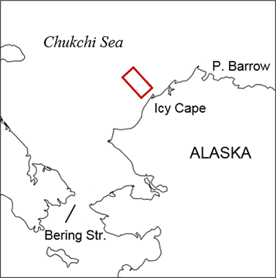 Map showing the reference area northwest of Icy Cape