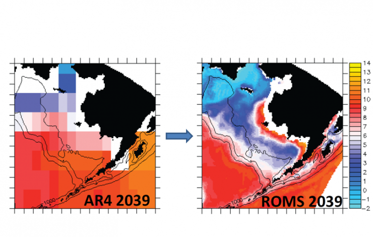 Dynamical downscaling of the global model (left) resolves finer scale features on the Bering Sea Shelf (right) viewable through the Alaskan Ocean Observing System website.