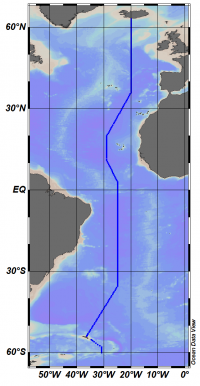 Map of CLIVAR A16 section in 2013, surface to 6000m depth, 65N to 60S