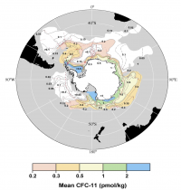 Distribution of the mean (depth-averaged) concentration of dissolved CFC-11(in pmol kg-1) in the layer of dense Antarctic Bottom Water (AABW).  The calculated CFC inventories can be used to estimate the formation rate of AABW. From Orsi et al. (1999).