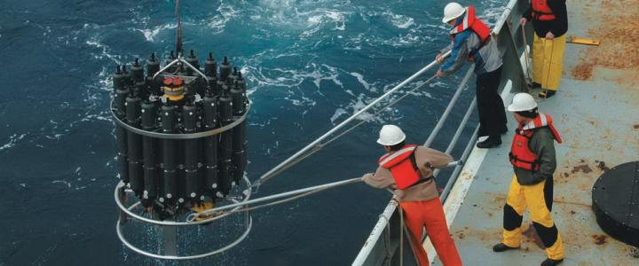 Repeat hydrography CTD deployment