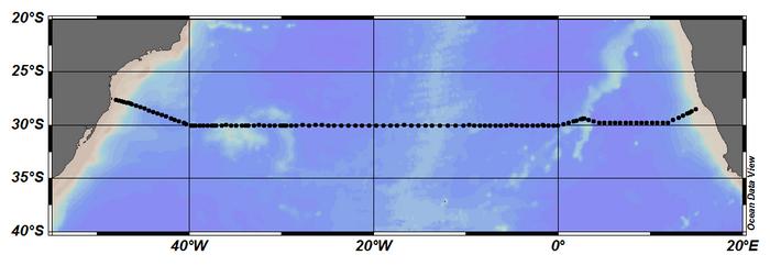 Map showing CLIVAR A10 section line.