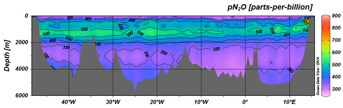 partial pressure N2O (pN2O)  along CLIVAR A10 section along 30oS in 2010