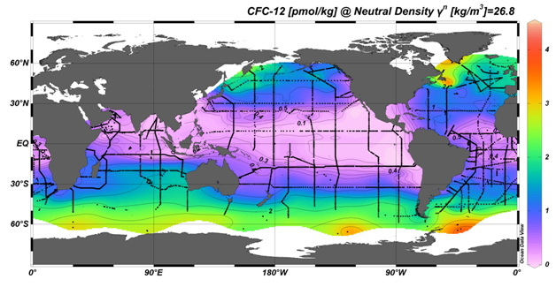 concentration of dissolved CFC-12 in the ocean at the neutral density level 26.8. Black dots indicate the location of stations where dissolved CFCs were measured as part of the World Ocean Circulation Experiment (WOCE). Dissolved CFCs highlight regions of the ocean where gases in the atmosphere can be carried on decadal time scales.