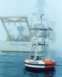 DART buoy in fog with NOAA ship Ron Brown