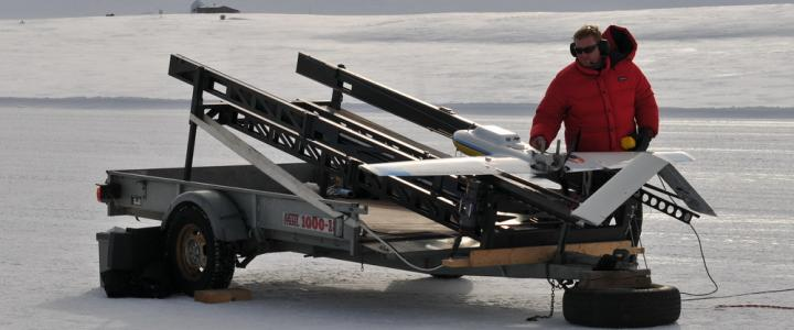 Preparing the Manta UAV for launch to monitor atmospheric soot in the Arctic