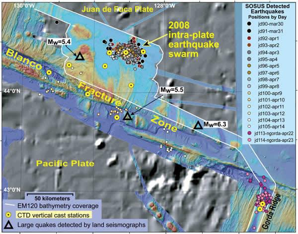 Oregon Offshore Earthquake Map