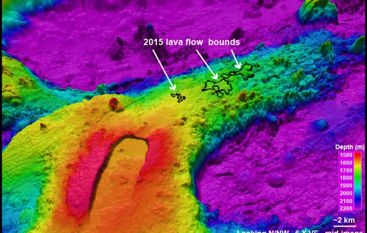 Axial Seamount and potential new lava flow location