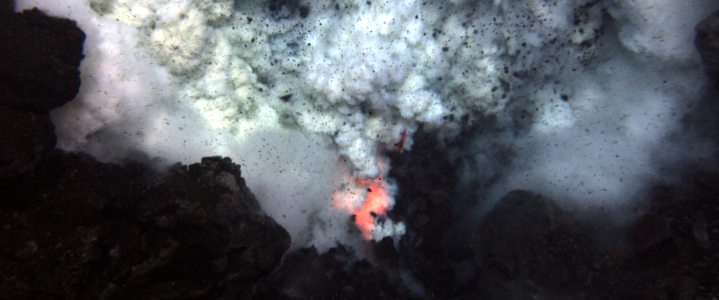Undersea lava and ash eruption