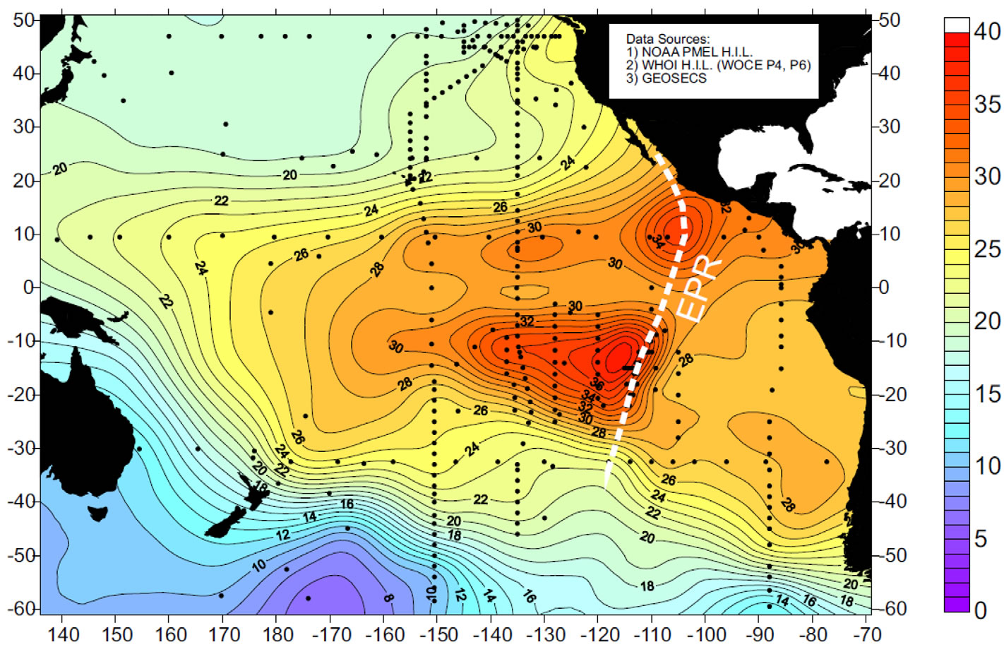 pacific ocean depth map Evolution Of The South Pacific Helium Plume Over The Past Three pacific ocean depth map