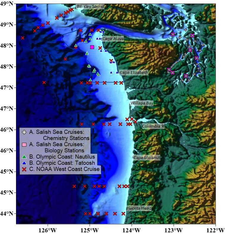 Map of Pacific Northwest sampling sites