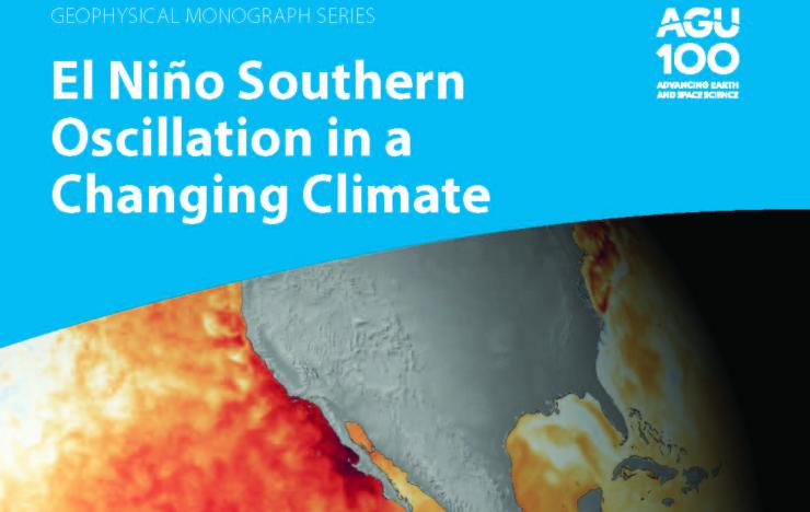 Book cover of El NiñoSouthern Oscillation in a Changing Climate with a map of the global featuring the Pacific Ocean and the US with deep bands of red along the equator and west coast of the US highlighting an El Nino event a