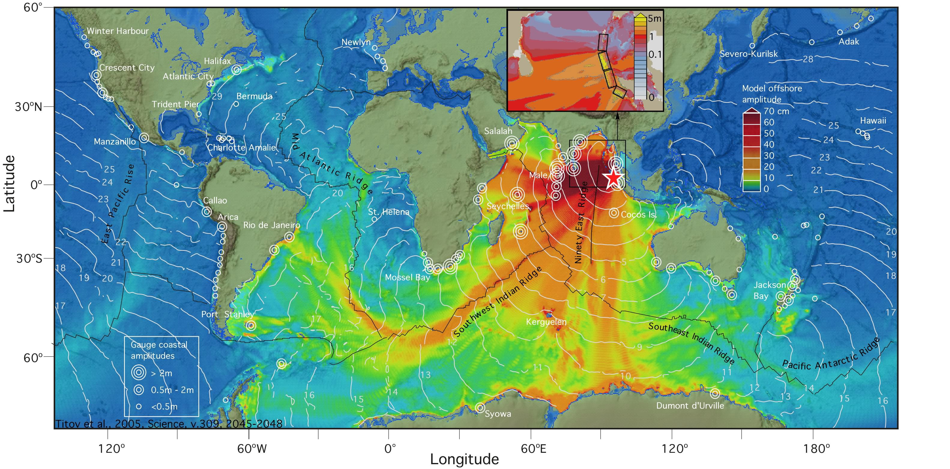 Worldwide Wave Heights After The Indian Ocean Tsunami Of