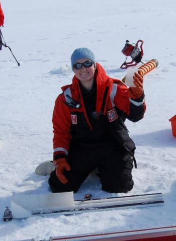 As part of a 2009 expedition to the Arctic on the Coast Guard Cutter Healy, Jessica got to walk on sea ice! The scientists on this research cruise w As part of a 2009 expedition to the Arctic on the Coast Guard Cutter Healy, Jessica got to walk on sea ice! Here she is collecting sea ice cores.