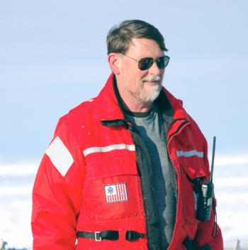 Dr. Edward Cokelet on the sea ice