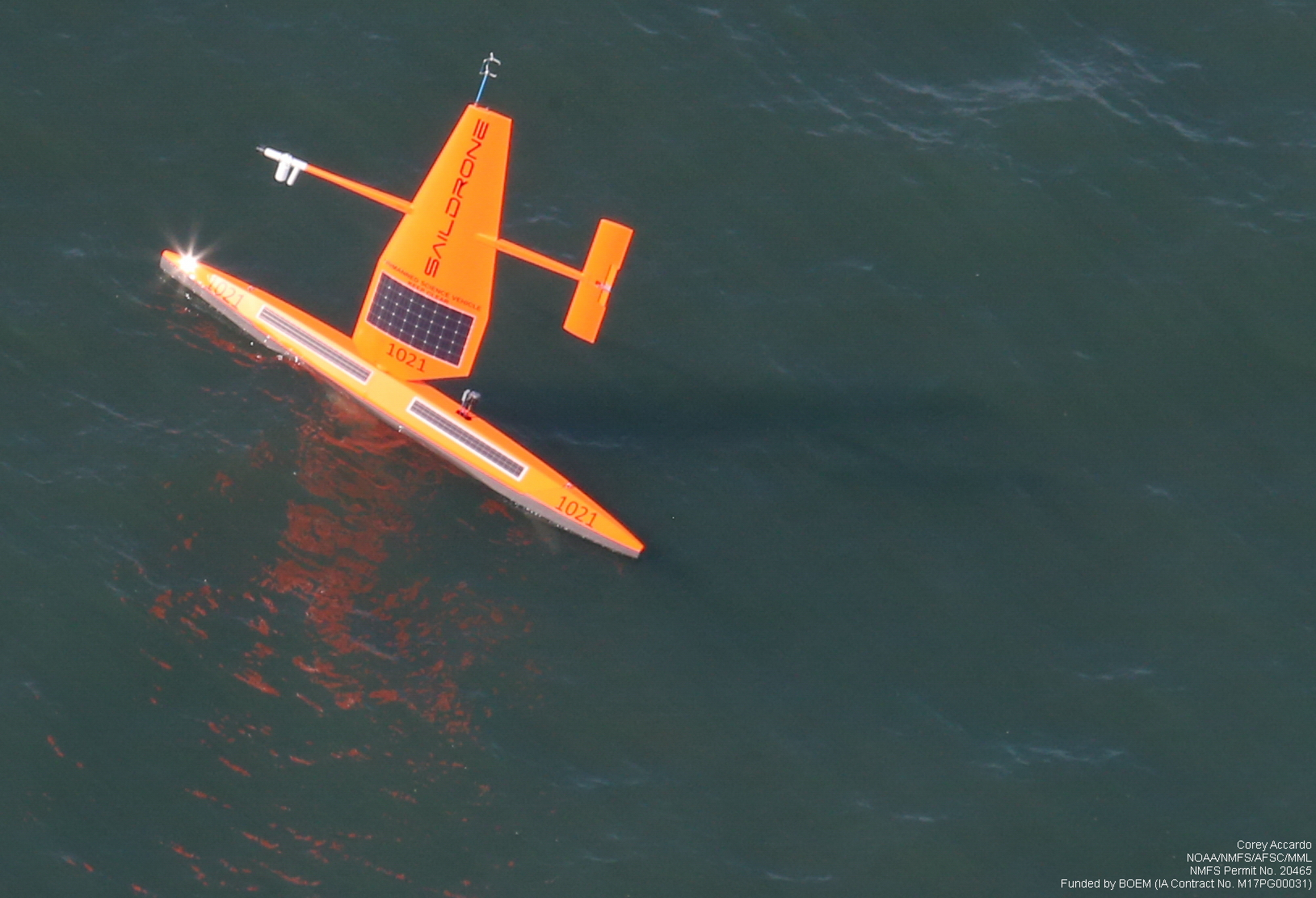 Aerial view of a sailing drone in the Chukchi Sea