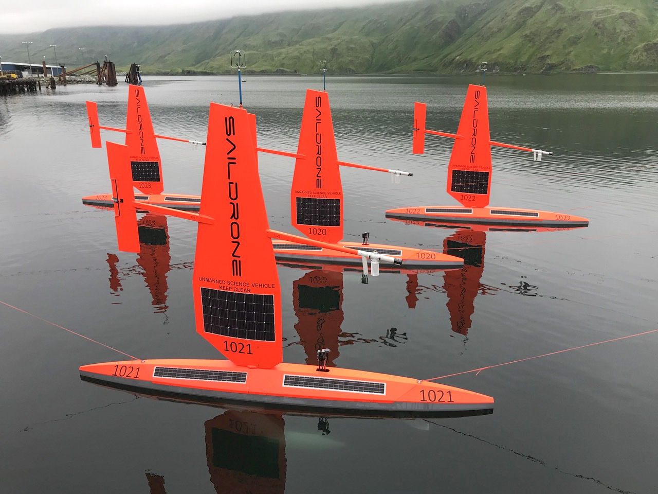 Four saildrone readied for launch in Dutch Harbor, AK.