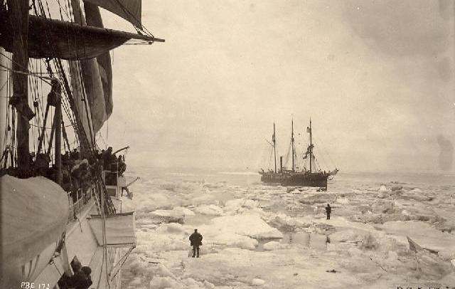 The U.S. Revenue Cutter Bear and an unidentified whaling ship contend with the sea ice in the Alaskan Arctic. Credit: New Bedford Whaling Museum Jarvis Collection.
