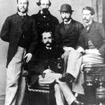 Former CSN officers: E.G. Booth (seated), and (standing, L-R): I.S. Bulloch (Shenandoah), B.W. Green, W.H. Murdaugh, C.E. Lining (Shenandoah).