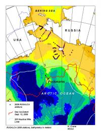 RUSALCA 2009 map of stations and sea ice minimum extent