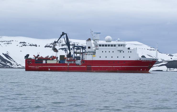Research Vessel Sarmiento de Gamboa in the western Antarctic Peninsula