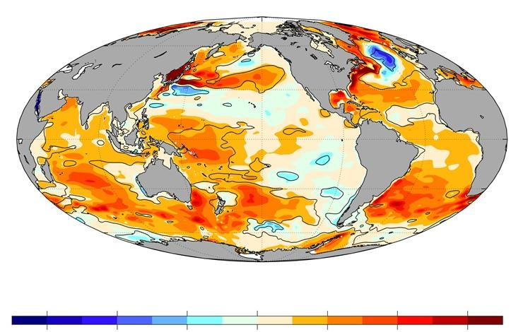 Upper-ocean heat content anomaly linear trends for 1993–2019