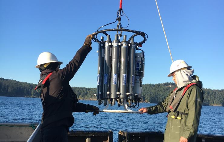 Deploying a CTD aboard the RV Centennial
