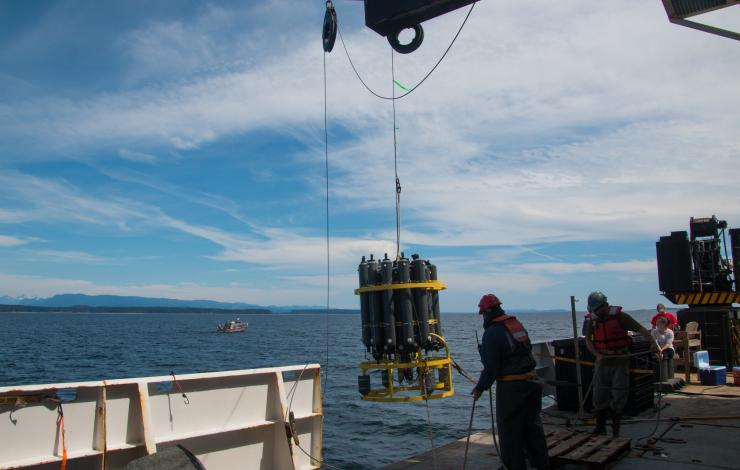CTD (Conductivity-Temperature-Depth) Rosette Deployment during the West Coast Ocean Acidification Cruise in 2016. Photo Credit: Meghan Shea