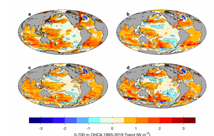 Four global maps showing ocean heat anomaly trends for 1993-2019 with red to blue color bar