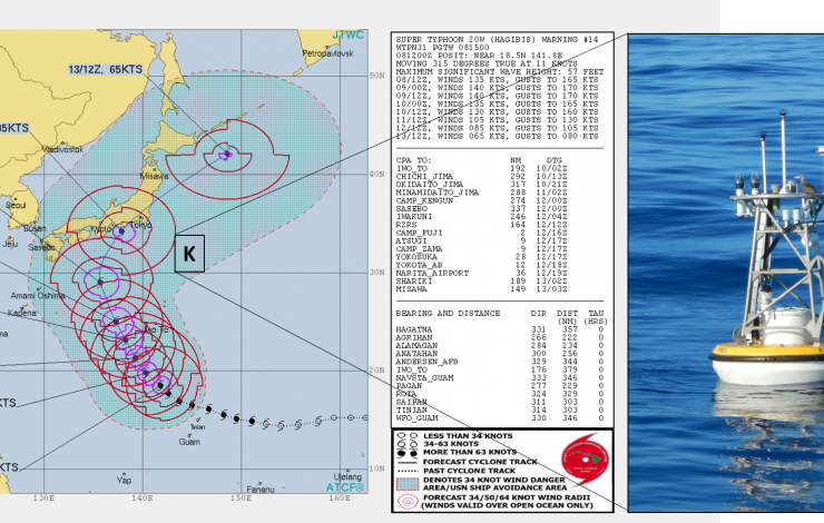 "The location of the KEO moored buoy shown on the right is denoted with a ""K"" on the Joint Typhoon Warning Center's map of the forecasted Super Typhoon HAGISIB track."
