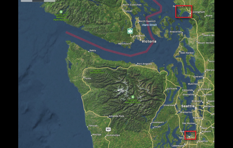 Map of western Washington state showing the coastal areas, Strait of Juan De Fuca and Puget Sound. Locations of Bellingham and Tacoma forecast models. Red rectangles cover Tacoma and Bellingham, WA show inundation model computational domains.