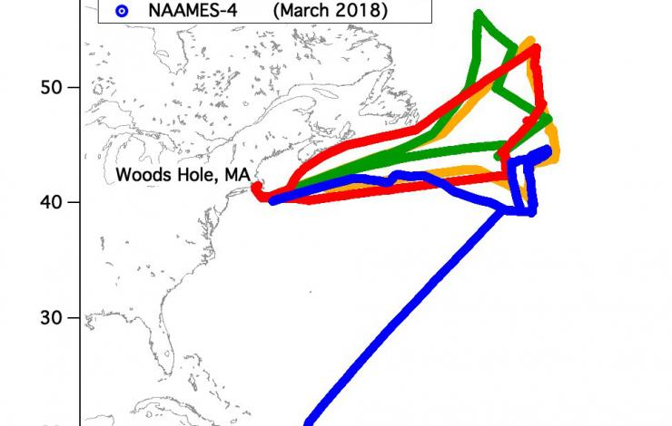 Map of four different cruise line tracks in the North Atlantic Ocean during the different research cruises. Three of the four research cruises in November 2015, May 2016, and September 2017 started and ended in Woods Holes, MA. The last cruise in March 2018 traveled between Woods Hole, MA to Puerto Rico.