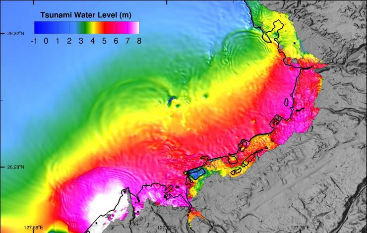 Example of tsunami inundation simulation shows model amplitudes during tsunami flooding computation at Okinawa study site, 57 min:15 sec after generation by a local earthquake source.
