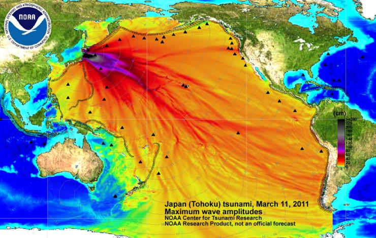 image of energy map of 2011 Japan tsunami
