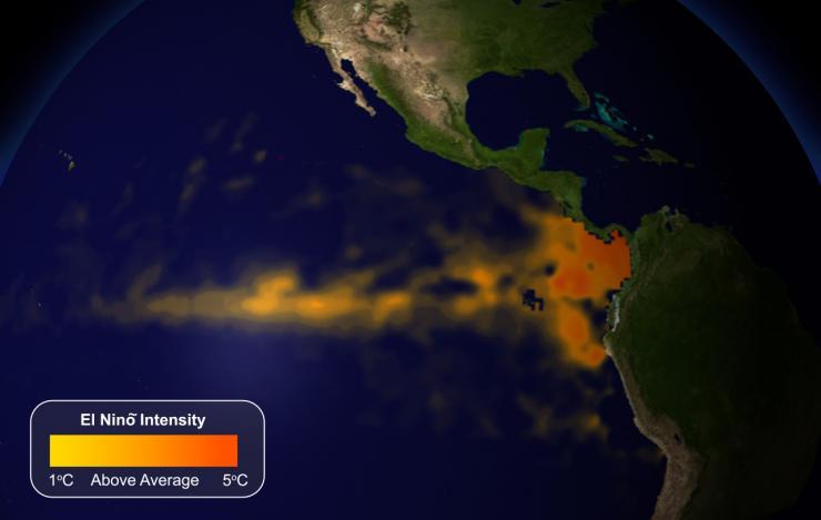 satellite image showing increased el nino intensity