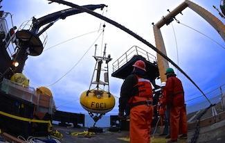 photo of FOCI mooring being deployed