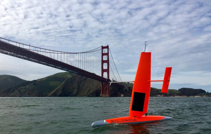 Saildrone departing San Francisco in 2017