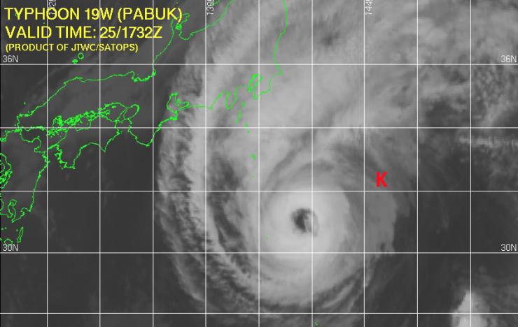 satellite image of Typhoon Pabuk passing over the KEO mooring