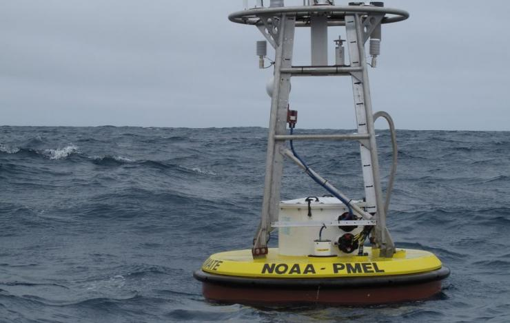 photo of the Papa mooring deployed in the Gulf of Alaska