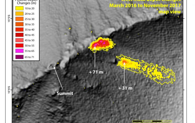 Visual of depth changes between bathymetric surveys in 2016 and 2017 reveal two large volcanic cones and associated deposits near the volcano's summit.