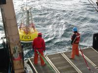 photo of a EcoFOCI mooring deployment