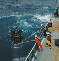 phot of a CTD being deployed