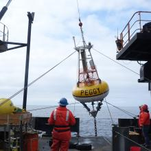 M2, a biophysical mooring, nicknamed Peggy after Peggy Dyson being deployed in the Bering Sea.