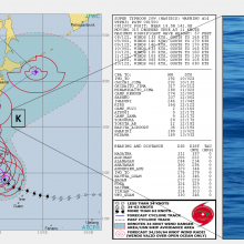 """The location of the KEO moored buoy shown on the right is denoted with a """"K"""" on the Joint Typhoon Warning Center's map of the forecasted Super Typhoon HAGISIB track."""