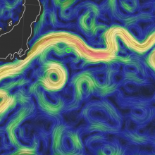 Ocean surface map showing currents and eddies off the coast of Japan in the Kuroshio Extension current.