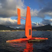 A Saildrone departs Dutch Harbor, AK in 2016 on it's way to test sensors on this platform for multi-disciplinary science