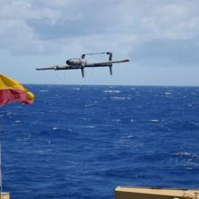 Launch of a 20-lb test VTOL-Fixed Wing hybrid UAS from the NOAA RV Oscar Elton Sette in June 2016.