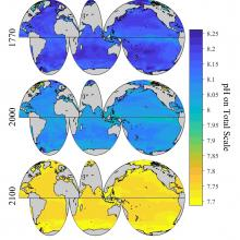 Climatology maps from the study showing pH trajectories from the past and into the future.